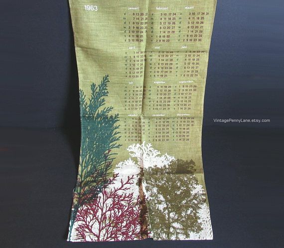 Vintage Cotton Linen Tea Towel 1963 Duch Calendar Nature