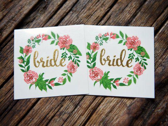 Bride tattoo 2 temporary tattoos gold tattoo wedding by Tattoocrew