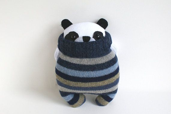 Little Panda SockBear Patsy blue grey taupe by theRemakerie, $42.00