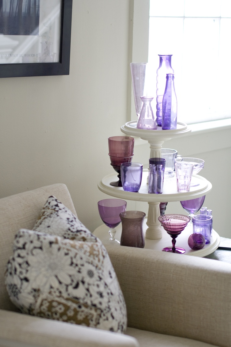 love this tiered stand as a side table.