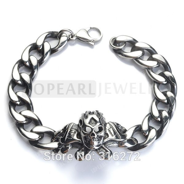 Topearl Jewelry Skull Wrenches Curb Chain Bracelet Vintage Stainless Steel MEB43