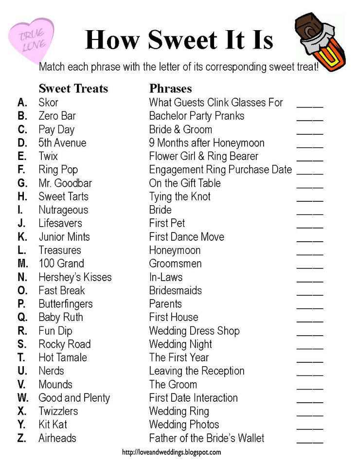 """Love and Weddings: Bridal Shower Game: """"How Sweet It Is"""""""