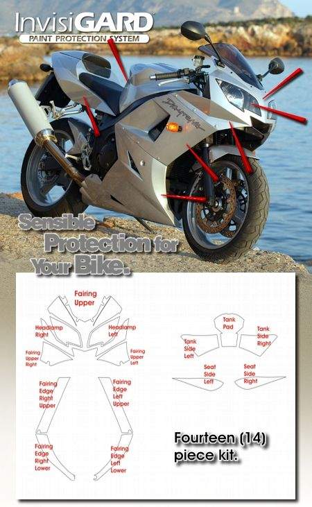 InvisiGARD Invisible Clear Paint & Headlight protection kits for Triumph Daytona 600/650