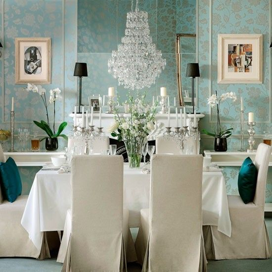 Opulent Dining. A DIY Project. A Stencil. Or Wallpaper. Sewing. Shelving
