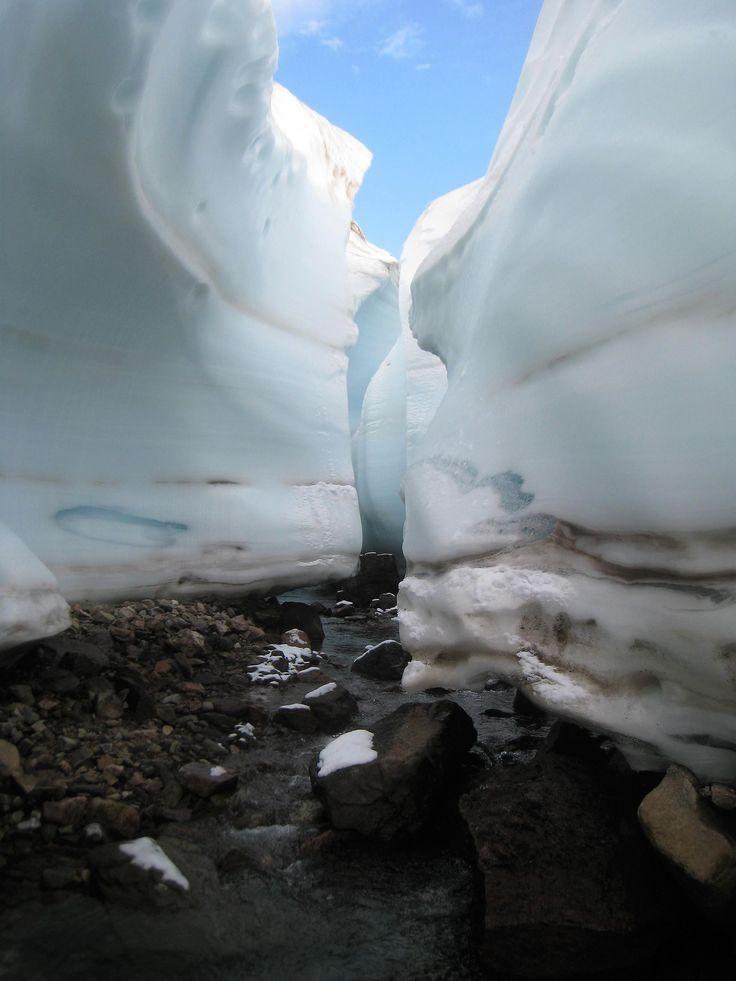 Canyon of ice in the toe of a glacier. Alexandra Fiord Ellesmere Island NU Canada. [OC] 2448 x 3264
