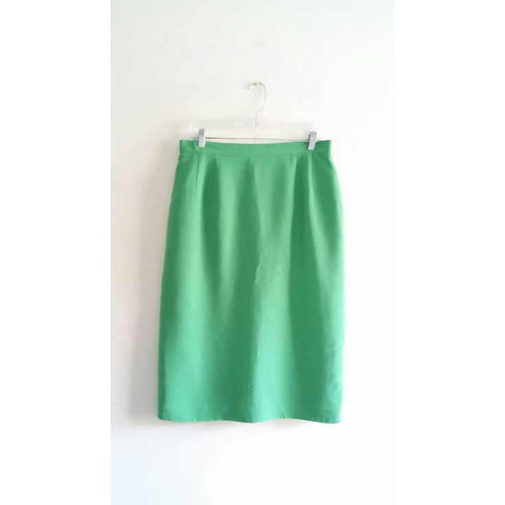 Vintage 1970s 70s Joan Leslie Kelly Bright Green Solid Pencil Xmas High Waist Knee Length Skirt Sz 14 Large