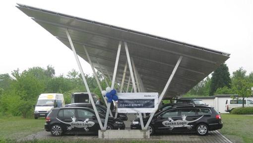 GeckoLogic bereitet mit Solar-Carport Projekten die Elektromobilität vor- PhotoVoltaik von GeckoEnergies