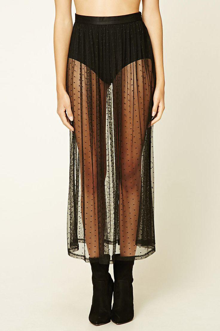 Sheer Polka Dot Mesh Skirt | Forever 21 - 2000199259