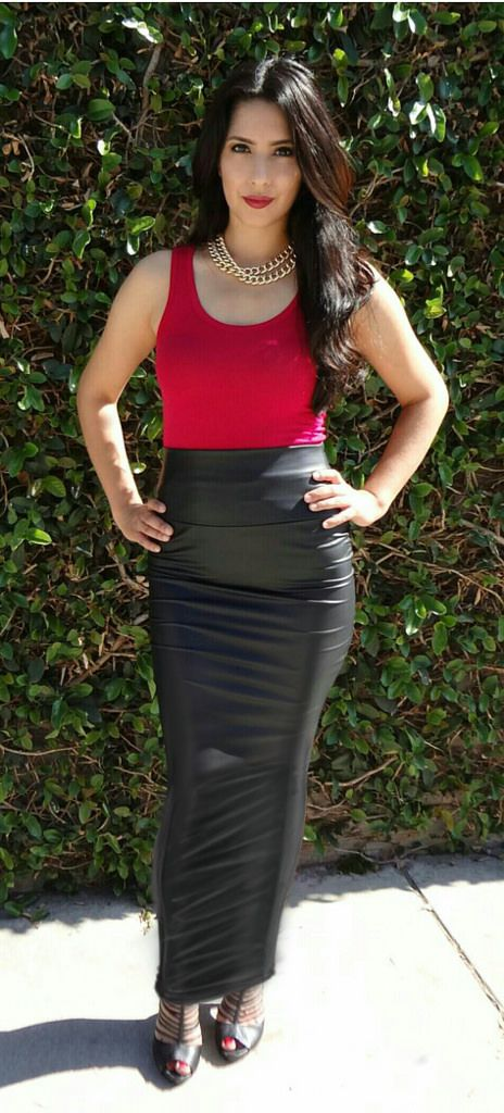 All sizes | Long black leather pencil skirt | Flickr - Photo Sharing!
