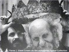 """A CROWN FIT FOR A GIANT? Italian Father Carlo Crespi tries on a Giant kings crown he found in the cave named """"Cueva de los Tayos"""" Ecuador."""