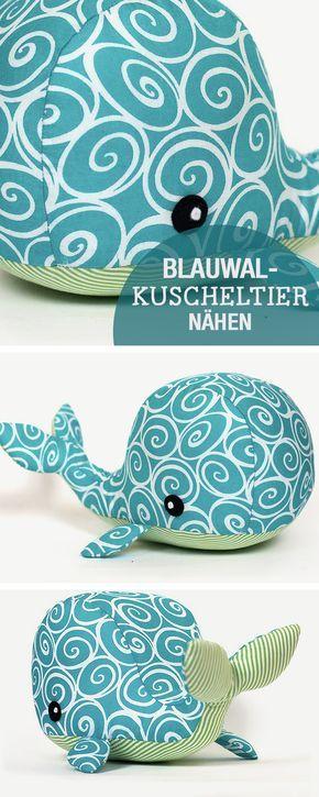 DIY-Nähanleitung: Blauwal Kuscheltier nähen, Nähen für Kinder / diy sewing t…