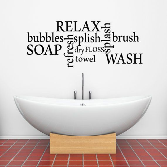 Bathtime Words Vinyl Wall Decal Sticker For Your By Fabwallartuk
