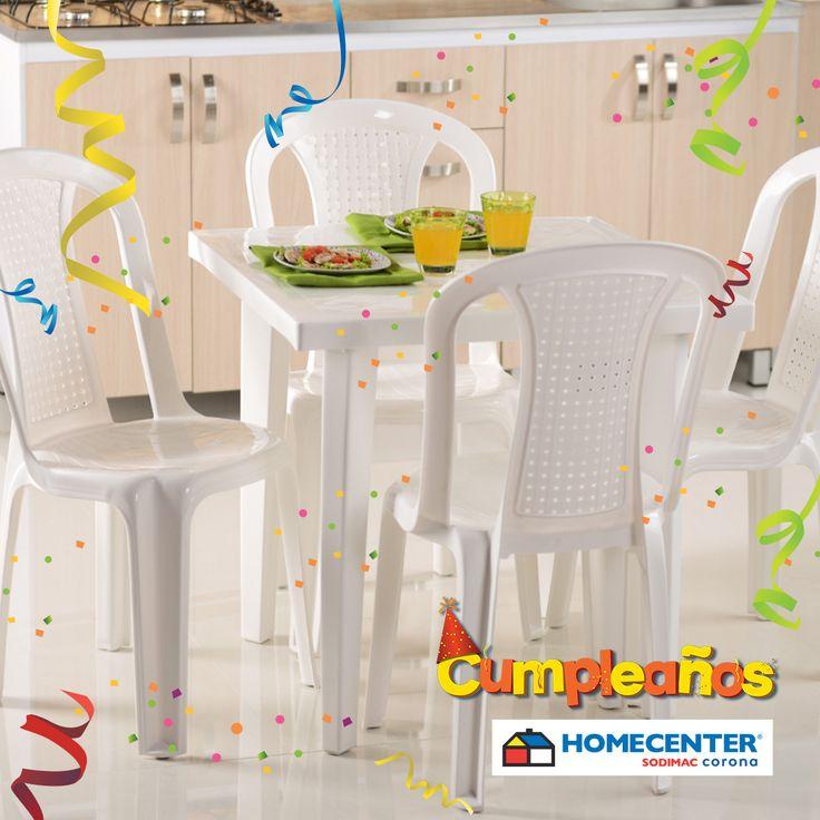 #CumpleañosHomecenter te trae COMBO de mesa cuadrada + 4 sillas plásticas a $109.900, son 3.500 unidades disponibles.