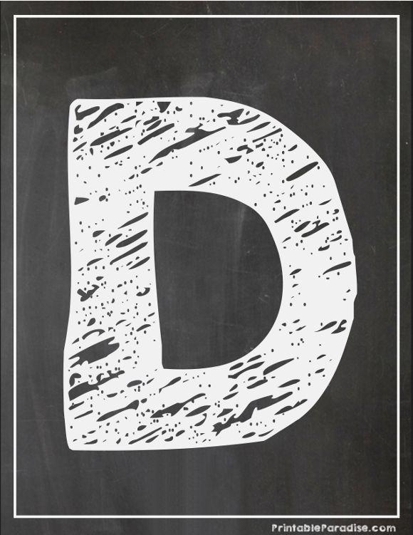 Printable Letter D Chalkboard Writing