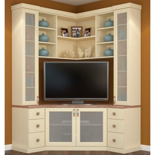 Almond melamine corner entertainment center features Hammered Copper melamine countertop with copper and nickel handles and knobs. Doors have sandblasted glass inserts.