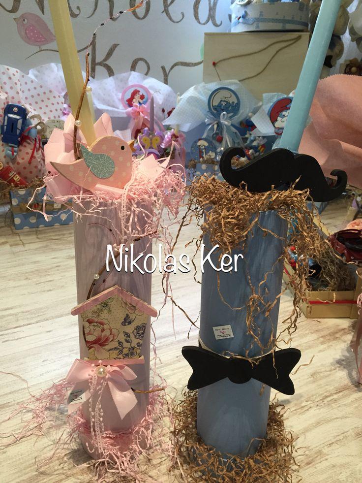 Πασχαλινές λαμπάδες με πουλάκι κλουβάκι & little man!  www.nikolas-ker.gr