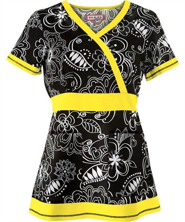 black/yellow koi scrub top
