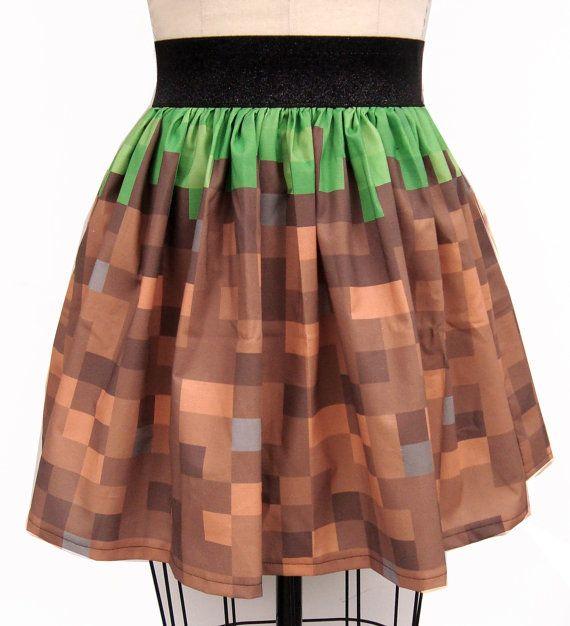 Video Game Cubes Inspired Full Skirt by GoChaseRabbits on Etsy, $45.99
