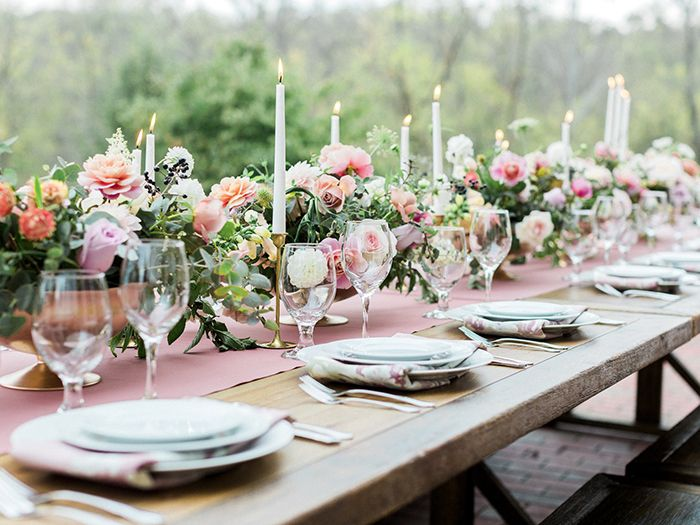 Rose Gold Floral Compote Centerpieces with Taper Candles  https://heyweddinglady.com/blush-mauve-wedding-inspiration-rainy-garden/    #wedding #weddings #weddingideas #engaged #pink #pinkweddings #mauve #weddingdecor #eventdesign #centerpieces #weddingreception #weddingflowers