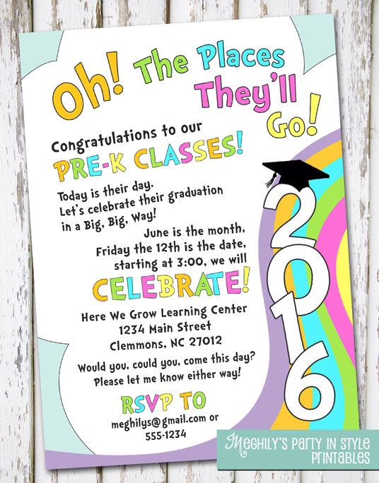 Oh, The Places You'll Go - Preschool graduation invitation by Meghilys on Etsy https://www.etsy.com/listing/267724933/oh-the-places-youll-go-preschool
