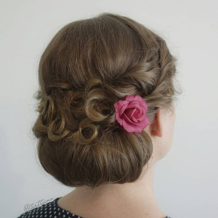 Hair by Terhi A (@terttiina) Instagram: soft updo with low bun and curls