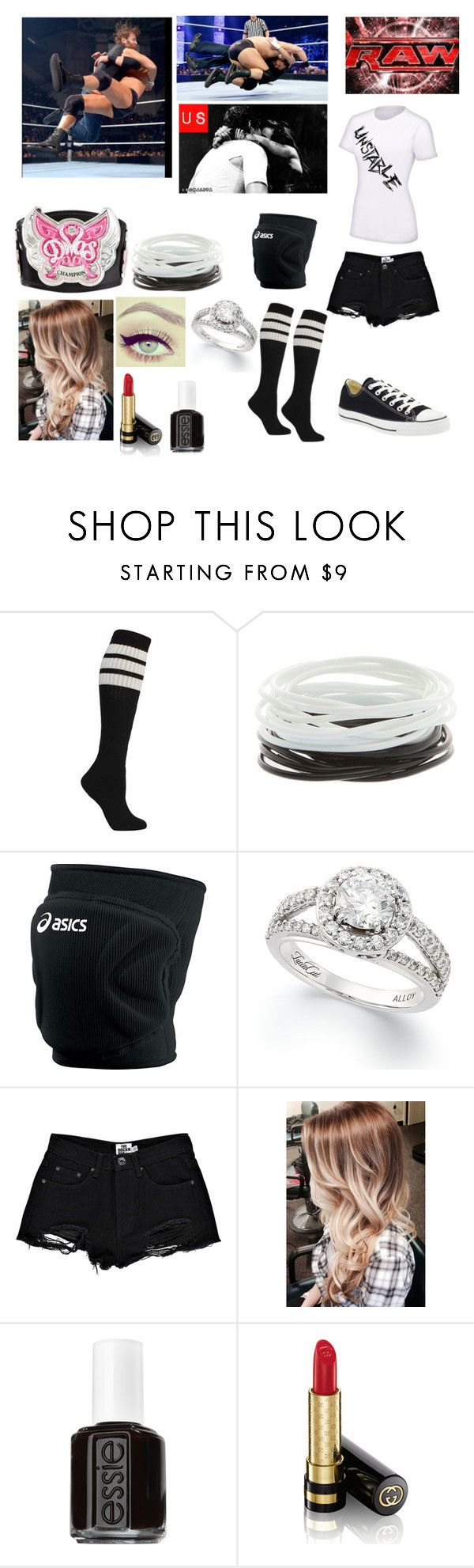 """""""Monday Night Raw - Coming Out And Kissing Dean After His Win Over Curtis Axel"""" by caton-486 ❤ liked on Polyvore featuring Axel, Asics, Boohoo, Converse, Monday, Free People, Essie and Gucci"""