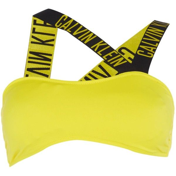 Calvin Klein Intense power V bandeau bikini top ($66) ❤ liked on Polyvore featuring swimwear, bikinis, bikini tops, women, yellow, swim tops, yellow bikini top, calvin klein swimwear, calvin klein and bandeau tops