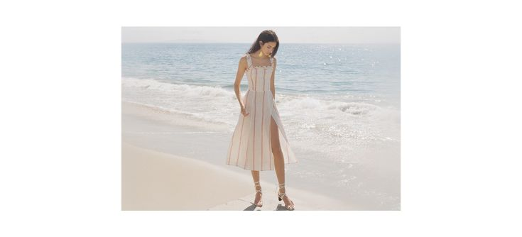 Reformation - linen emergencies solved here.  This is a midi length dress with a ruffle edged neckline and ruffled straps.