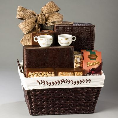 Perfect thank you gift for the office! Coffee lovers will love this upscale kosher gift basket with handmade, fresh cookies, chocolate, coffee candles, espresso cups and so much more. Basket will come in handy around the office after as well!