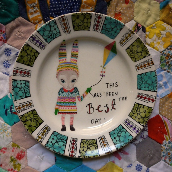 This Has Been The Best Day Bright Kite Bunny Vintage Illustrated Plate