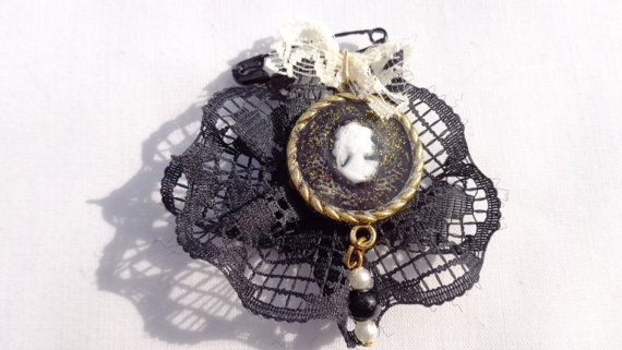 Vintage brooch cameo brooch liquid glass black by ArtisticBreaths