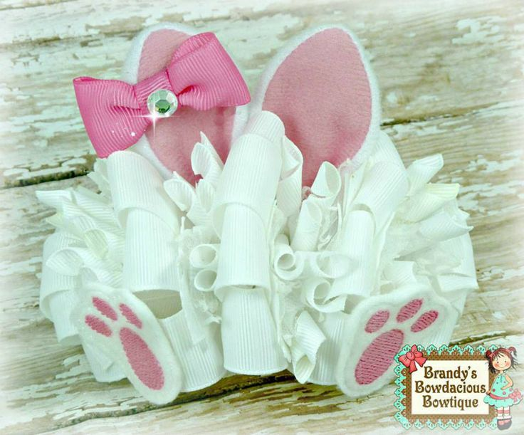 Easter, bunny, bunny ears, bunny feet, bow, hair bow, funky loopy bow, over the top, girl's accessories