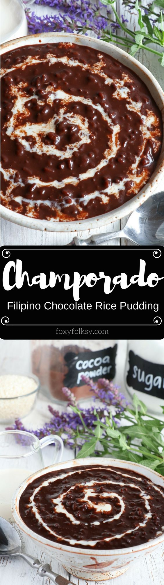 Try Champorado for breakfast. A Filipino sweet porridge made from cocoa and glutinous rice top and served with condensed milk. | www.foxyfolksy.com.