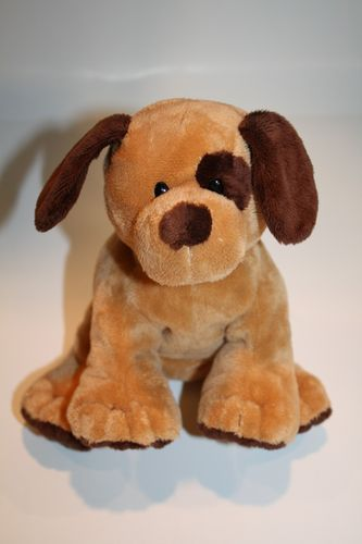 Ty Pluffies Barkers Dog Dark Brown Eye Patch Puppy Stuffed