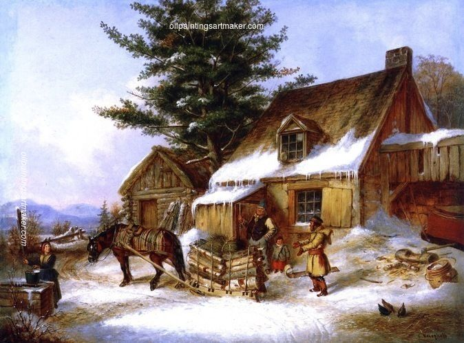 Cornelius Krieghoff Bargaining for a Load of Wood, painting Authorized official website