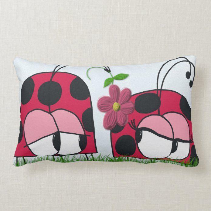 Adorable Ladybug Wooing His New Love Cartoon Lumbar Pillow Zazzle Com In 2021 Lumbar Pillow Pillows New Love