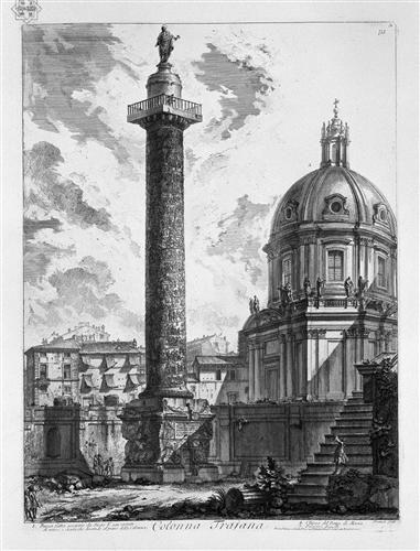 Veduta delle due Chiese l`una detta della Madonna di Loreto, l`altra del nome di Maria, presso la colonna Traiana, incisione