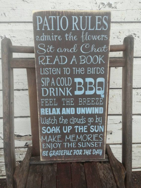 Patio Rules Sign Vintage Style custom Patio rules sign by Wildoaks