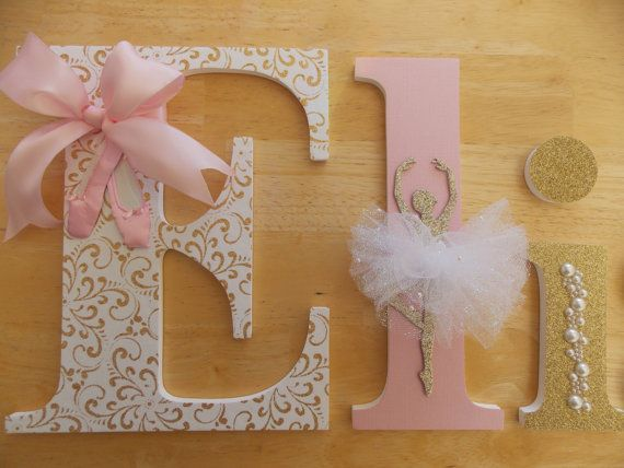 Gold & Pink Ballerina Letters Nursery by CountingOurBlessings