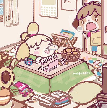 [Work in progress] Finally getting back to working on this Animal Crossing drawing that I've put off for a few months now. Filling up Isabelle's house is hard. TwT