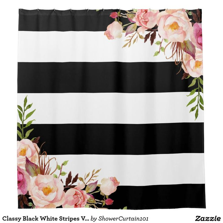 Classy Black White Stripes Vintage Floral Monogram Shower Curtain