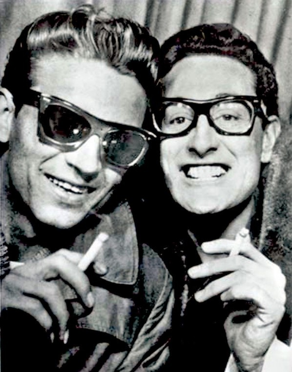Buddy Holly and Waylon Jennings in a photo-booth on Grand Central Station, New York City