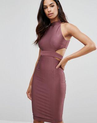 NaaNaa – Hochgeschlossenes Kleid mit Cutouts und Schnürung auf der Rückseite
