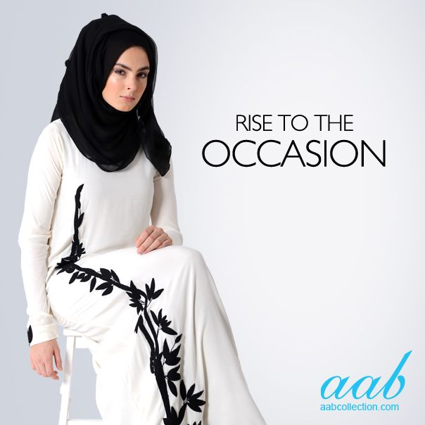 TSURI ABAYA Elegant, chic and unique! The perfect outfit for any special occasion.. beautifully embroidered from the bottom of the Abaya trailing upwards with a small motif upon the cuffs. http://www.aabcollection.com/shop/product/tsuri-abaya/424