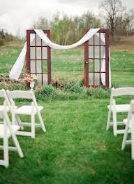 use doors for focal point of ceremony and to drape fabric from
