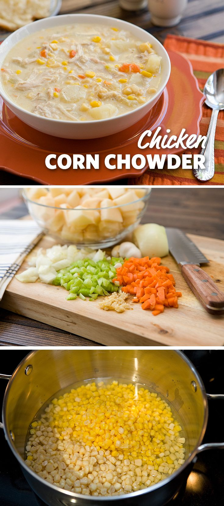 The addition of chicken to this corn chowder is a pleasant addition. It's satisfying, warming and filling! #FoodLion