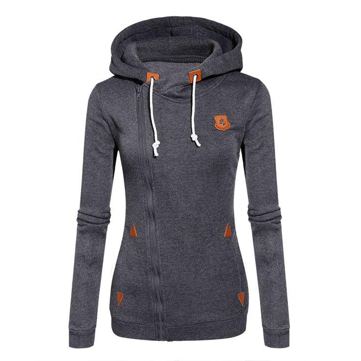 Women Zipper Hoodies Tracksuits Sports Sweatshirt Long Sleeve Pullover Top Outdoor Sportswear Solid Warm Hoody 7 colors S-XL u2