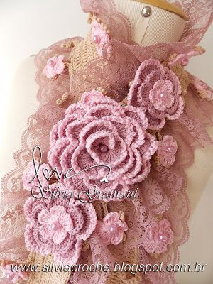 renda, cachecol, cachecol de croche, cachecol de flores de croche, croche, cachecol com renda