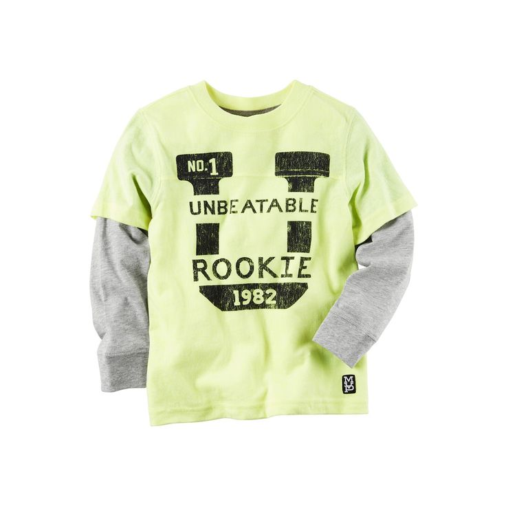 """Boys 4-8 Carter's """"Unbeatable Rookie"""" Mock-Layered Long Sleeve Graphic Tee, Boy's, Size: 8, Yellow"""