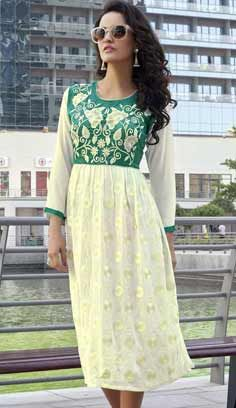 Fashionable Indian Cream Faux Georgette Kurti